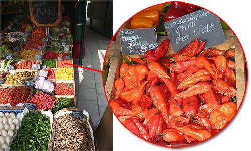 Bhut Jolokia auf dem Münchner Viktualienmarkt
