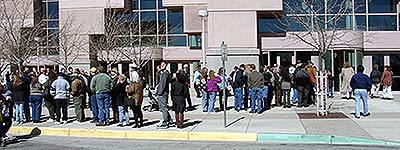 Ticket Line, outside the hall